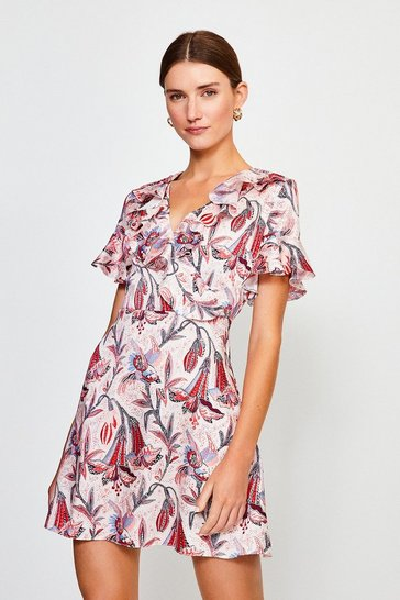 Pink Floral Wrap Short Sleeve Dress