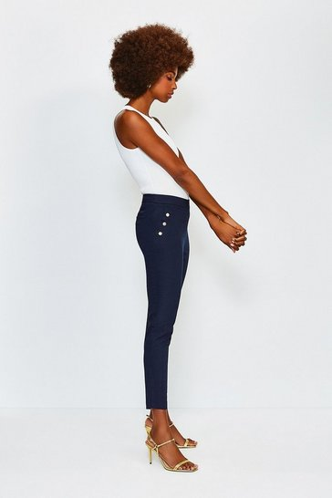 Navy Button Detail Cotton Sateen Capri Trousers