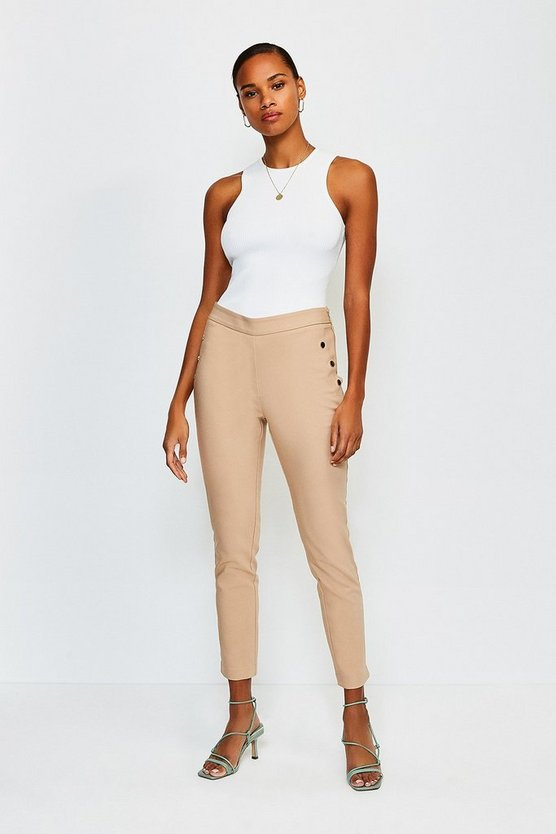 Stone Button Detail Cotton Sateen Capri Trousers