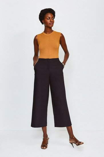 Black Cropped Cotton Sateen Wide Leg Trousers