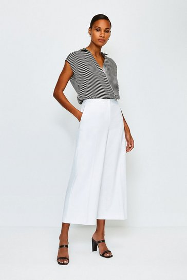 Ivory Cropped Cotton Sateen Wide Leg Trousers