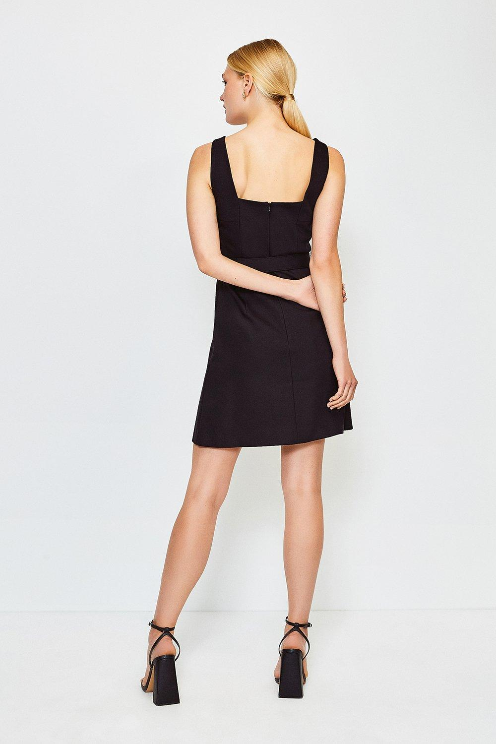 A Line Cotton Sateen Dress Karen Millen