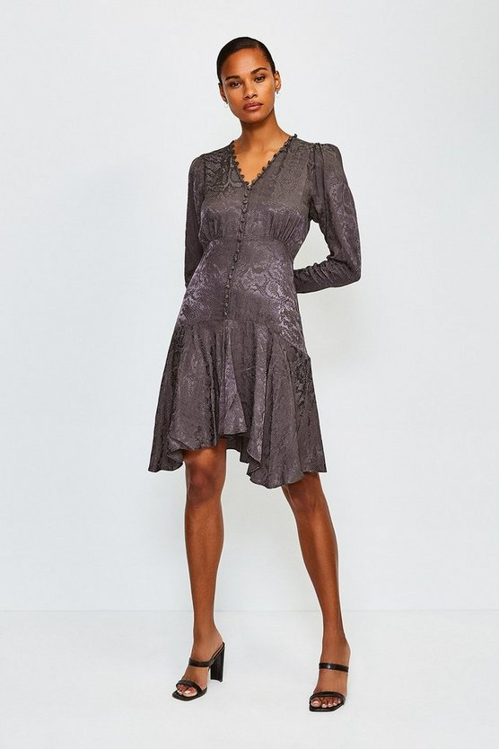 Grey Animal Jacquard Button Up Flippy Dress