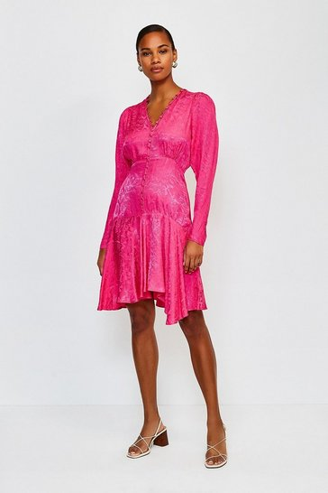 Pink Animal Jacquard Button Up Flippy Dress