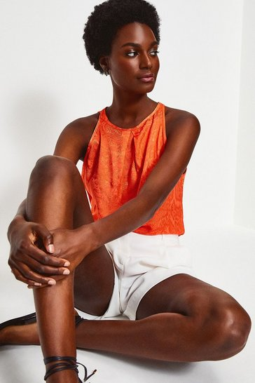 Orange Animal Jacquard Cami