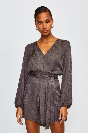Grey Animal Jacquard Wrap Playsuit