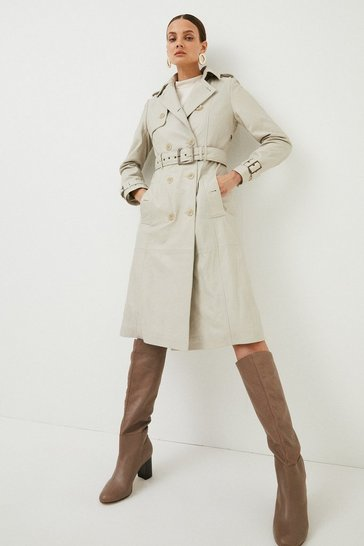 Cream Leather Trench Mac