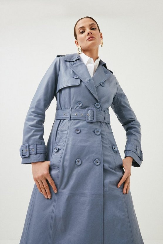Pale blue Leather Trench Mac
