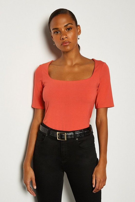 Red Viscose Square Neck Short Sleeve Top