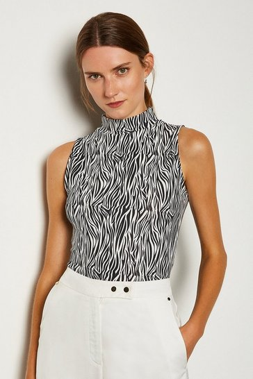 Black Viscose Print Sleeveless Funnel Neck Top