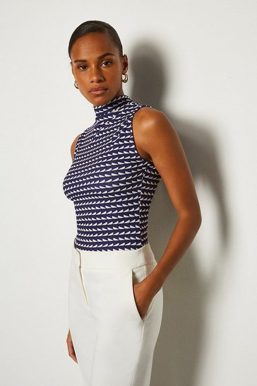 Blue Viscose Print Sleeveless Funnel Neck Top