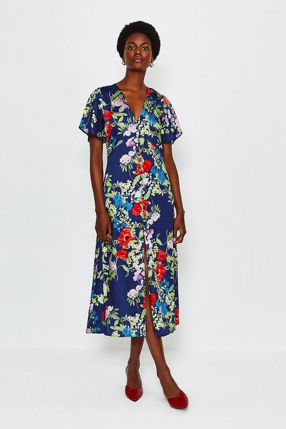Blue Floral Print Midi Short Sleeve Dress