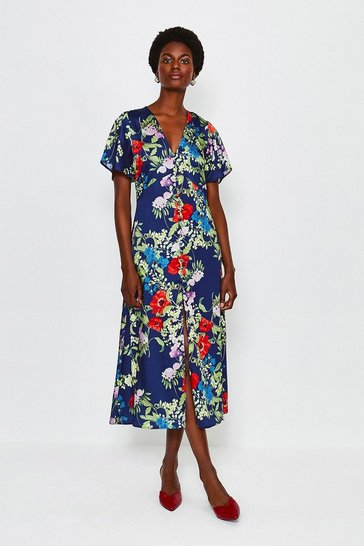 Blue Floral Midi Short Sleeve Dress