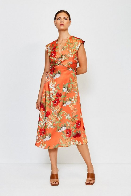 Orange Printed Twist Front Sleeveless Midi Dress