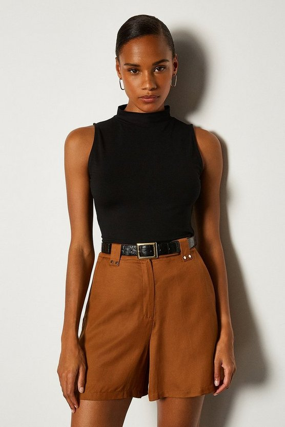 Brown Sleeveless Funnel Neck Viscose Jersey Top