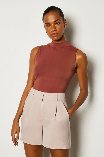 Brown Viscose Sleeveless Funnel Neck Top