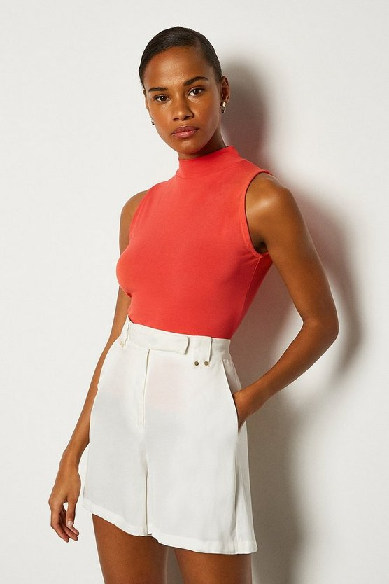 Red Viscose Sleeveless Funnel Neck Top