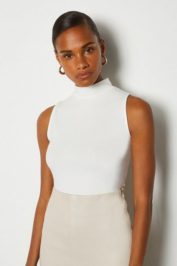 White Viscose Sleeveless Funnel Neck Top