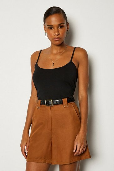 Black Viscose Jersey Strappy Cami