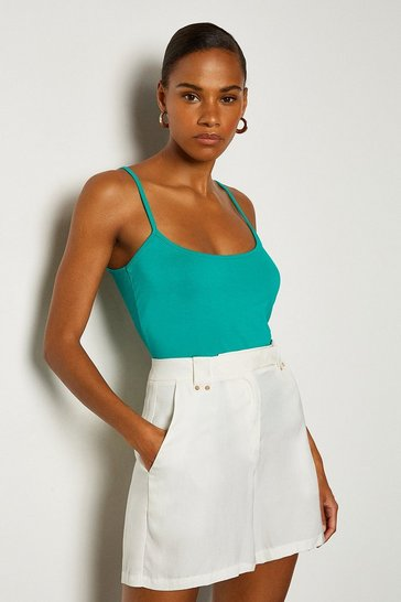 Green Viscose Jersey Strappy Cami