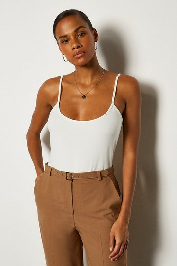 White Viscose Jersey Strappy Cami