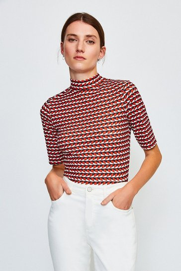 Red Viscose Jersey Short Sleeved Print Funnel Top