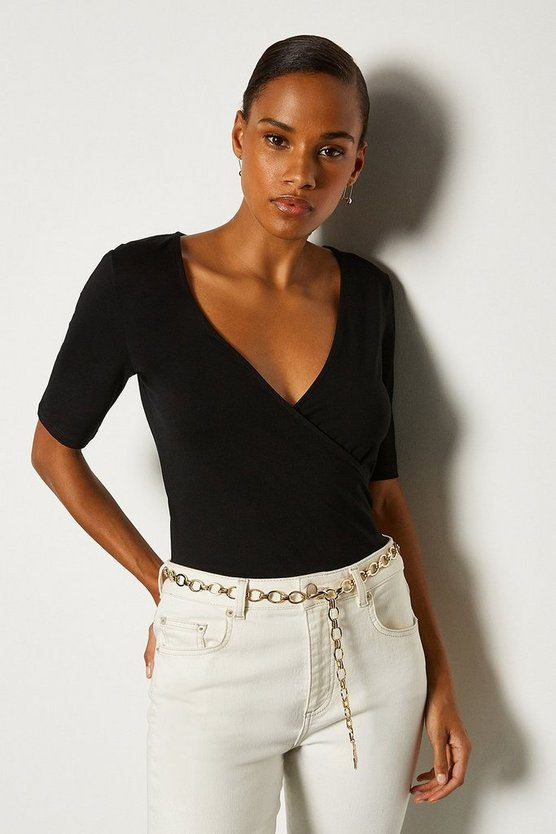 Black Viscose Short Sleeved Wrap Top