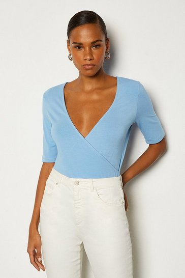 Blue Viscose Short Sleeved Wrap Top