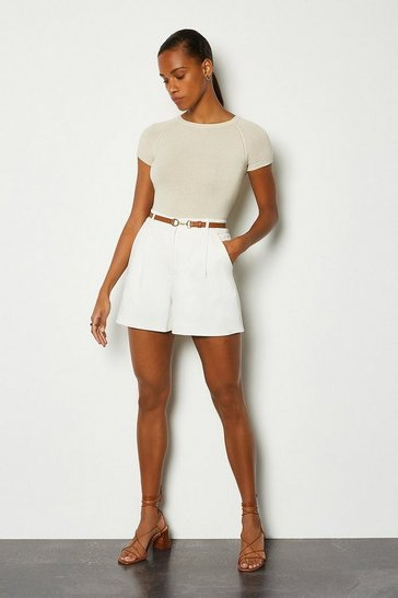 Ivory Belted Tailored Shorts