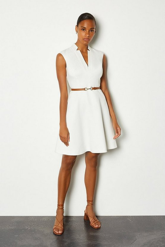 Ivory Belted V Neck A Line Dress