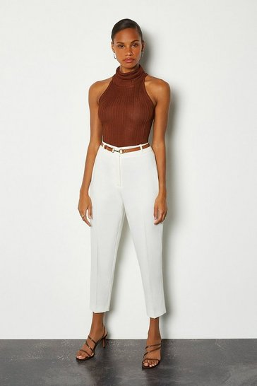 Ivory Belted Ankle Length Peg Trousers