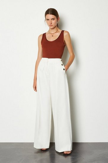 Ivory Side Button Wide Leg Trousers