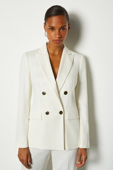 Ivory Double Breasted Relaxed Tailored Jacket