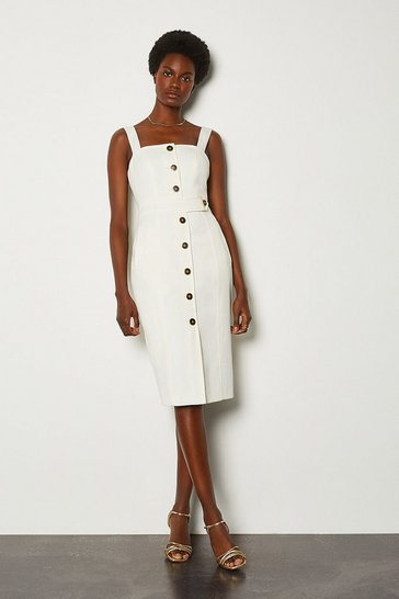 Ivory Square Neck Button Detail Dress