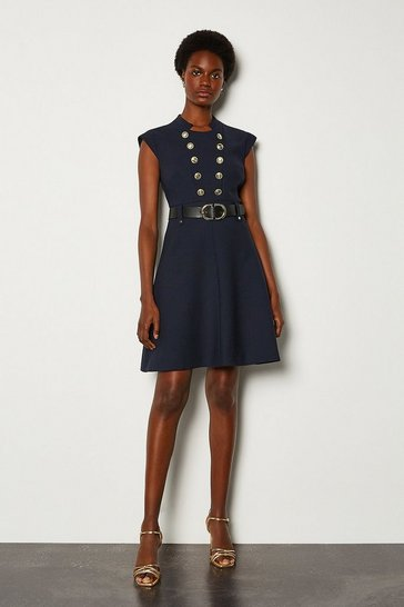 Navy Military Button Belted A Line Dress