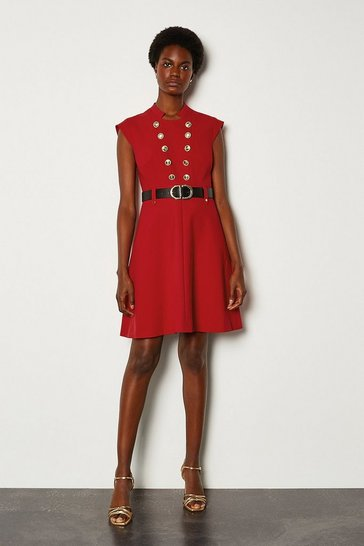 Red Military Button Belted A Line Dress