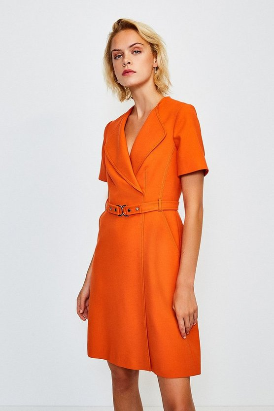 Orange D Ring Cinch Waist Dress