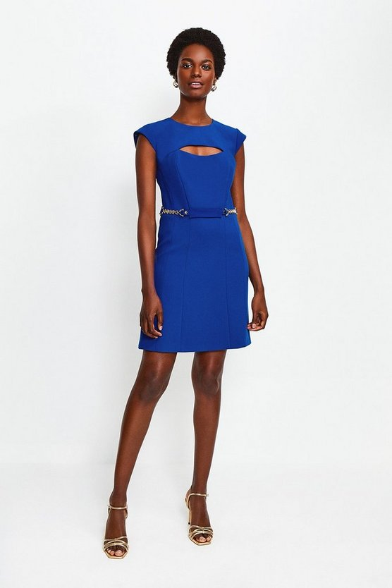 Blue Chain Belt A Line Dress