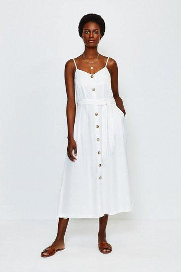 Ivory Linen Mix Strappy Dress