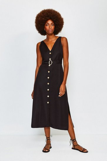 Black Linen Mix Button Up Dress