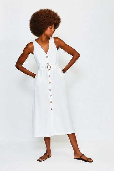 Ivory Linen Mix Button Up Dress