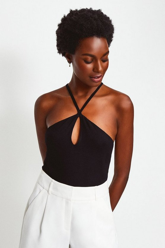 Black Jersey Strappy Halter Top
