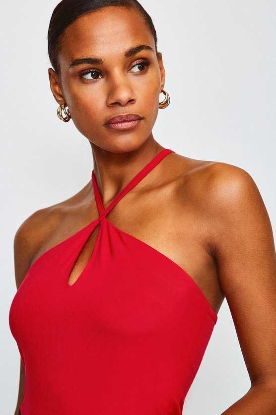 Red Jersey Strappy Halter Top