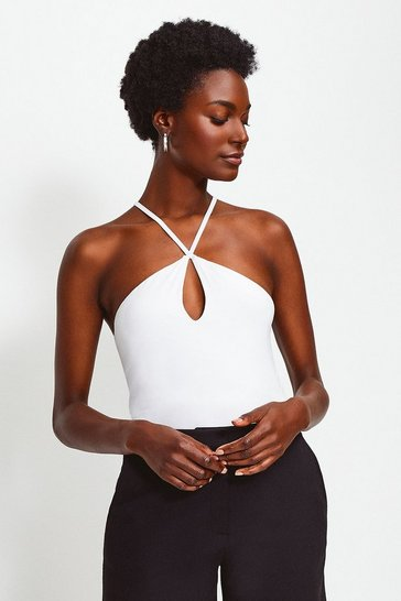 White Jersey Strappy Halter Top