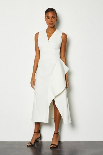 Ivory Sleeveless Waterfall Tailored Dress