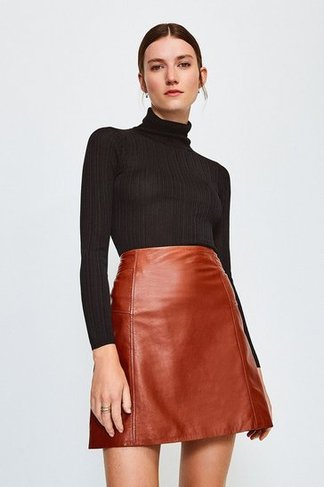 Apricot Knitted Rib Roll Neck Top