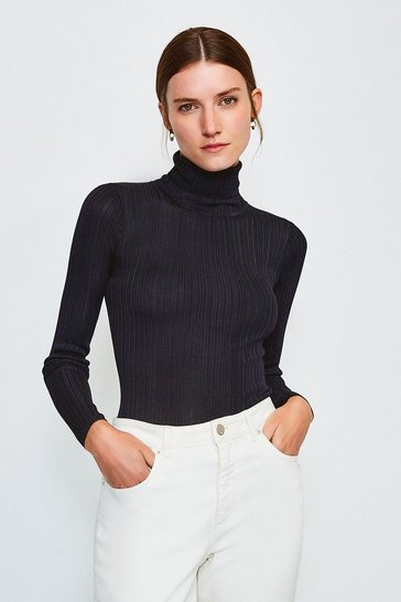 Navy Knitted Rib Roll Neck Top