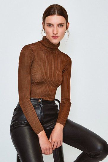 Rust Knitted Rib Roll Neck Top