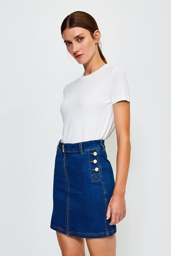 Blue Zip Front Button Detail Denim Skirt