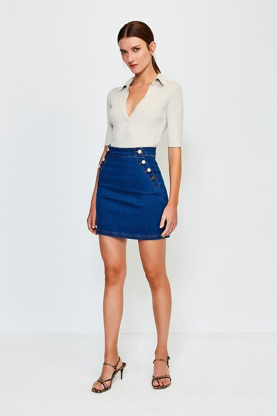 Blue Button Detail Denim Mini Skirt